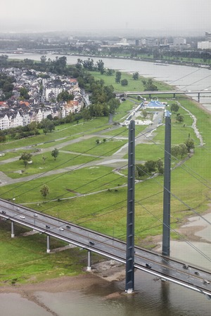 Landscape, panorama of the bridge of Disseldorf Stock Photo