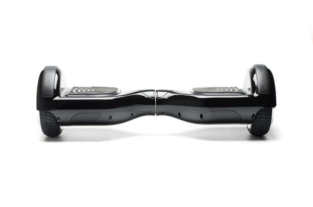 electrical component: Close Up of Dual Wheel Self Balancing Electric Skateboard Smart Scooter on White Background Stock Photo