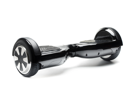 wheel: Close Up of Dual Wheel Self Balancing Electric Skateboard Smart Scooter on White Background Stock Photo