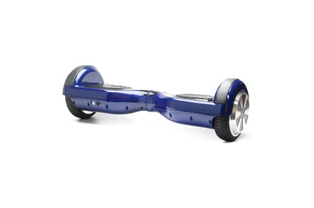 electrical parts: Close Up of Dual Wheel Self Balancing Electric Skateboard Smart Scooter on White Background Stock Photo
