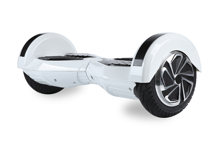 mending: Close Up of Dual Wheel Self Balancing Electric Skateboard Smart Scooter on White Background Stock Photo