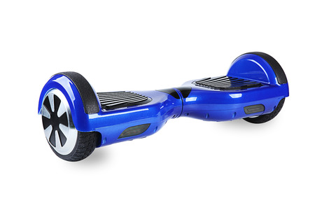 wheel balancing: Close Up of Dual Wheel Self Balancing Electric Skateboard Smart Scooter on White Background Stock Photo