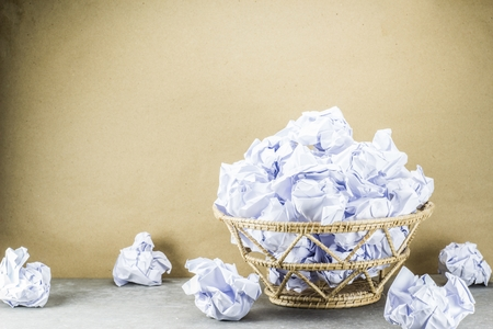 waste paper: waste paper document in bin is overflow to floor. Stock Photo