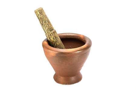 somtum: mortar and pestle in isolate (cooking equipment of Thailand)