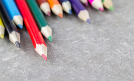 fill fill in: Color pencil on  table for fill text in space. Stock Photo