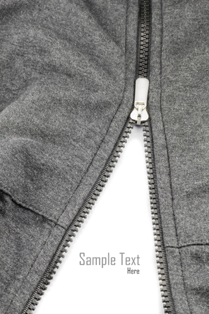 fill fill in: zipper of shirts on white isolate for fill text. Stock Photo