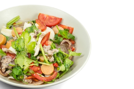 sen: Thai Spicy Seafood Salad with vermicelli or ,yam wun sen,on white isolate background