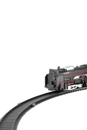 fill fill in: Toy train isolated on white background for fill text in space Stock Photo