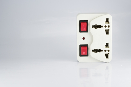 switch plug: plug socket with switch onoff and led status its on white background
