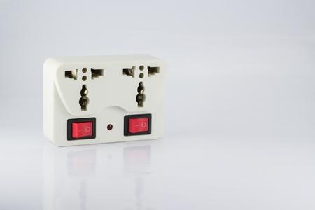 plug socket: plug socket with switch onoff and led status its on white background