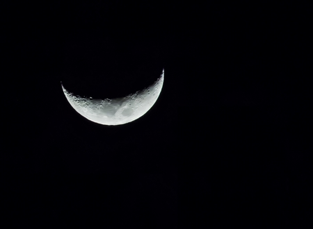 fool moon: crescent moon on black sky in Thailand Area.