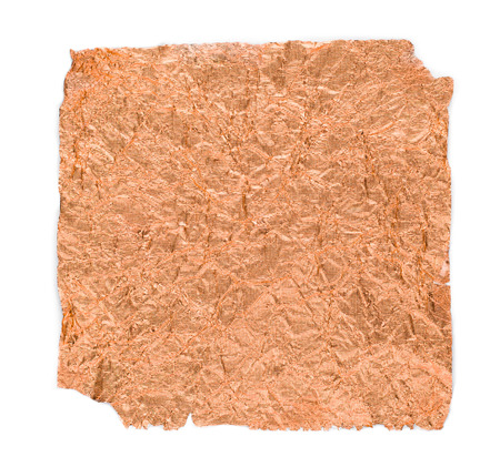 rumpled: Copper sheets rumpled on white isolate background
