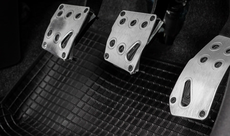 Car Pedals for Racing. Car Clutch, Gas and Brake Pedals. Pedals for control car. Pedals for the manual transmission car.