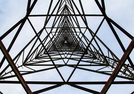 center position: texture steel structures of Antenna repeater radio. Elevation angle of the center mast position.