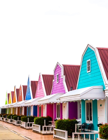 Colorful house on white background. Stok Fotoğraf