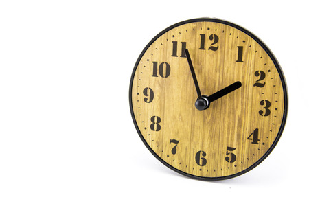 Wood clock on white isolate background. Zdjęcie Seryjne