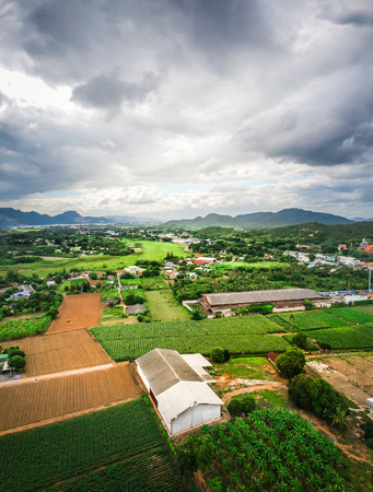 City landscape of the mountain river and the sky countryside in Thailand.