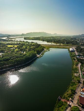 Aerial landscape of river in Kanchanaburi,Thailand.