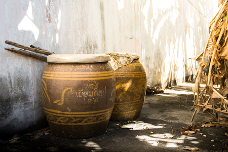 Ancient jar in Thailand, Thai people use to store drinking water.