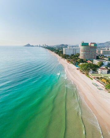 Hua Hin Beach,Prachuap Khiri Khan Province,Thailand. April 5,2019. The beach which is the first famous tourist destination in Thailand.