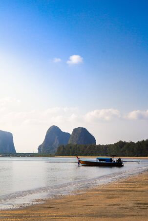 Seascape of Fishing boats of local villagers in southern, Krabi, Thailand. 写真素材