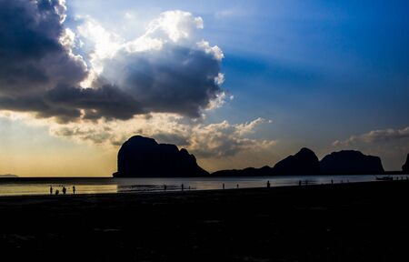 Silhouette of Sandy beaches of southern Thailand. 写真素材