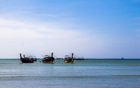 landscape with boat on the sea in Krabi,Thailand 写真素材
