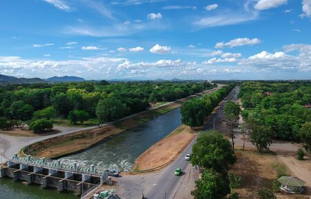 Mae klong dam,Tha  Muang, Kanchanaburi, Thailand. Is a large irrigation dam of the Royal Irrigation Department in Thailand.