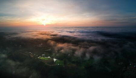 Aerial view of landscape of Mist in Morning 写真素材