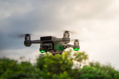Motion of small drone flying.