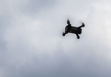 Drone flying in the sky.