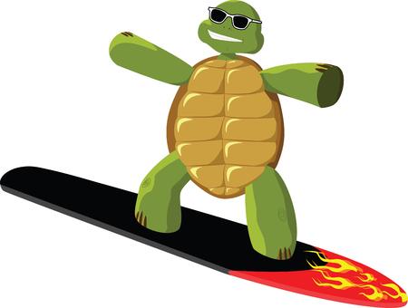 sunglasses recreation: Surfing turtle