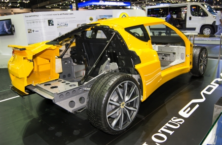 Body chassis and frame of Lotus EVORA in Thailand Motor Expo 2013