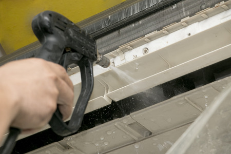 Cleaning air-conditioner with washing machine