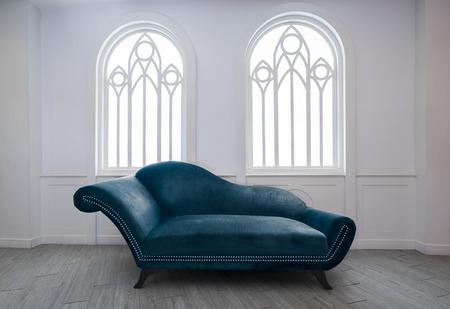 blue velvet: Blue velvet sofa Stock Photo