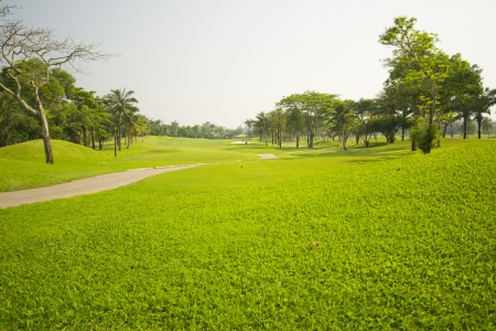 Beautiful golf place with gorgeous green photo