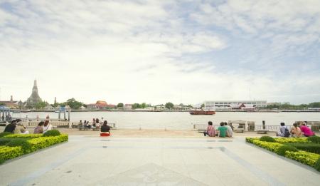 tha: Wat Arun. Photography in City Park at Tha Tien port, Bangkok Thailand