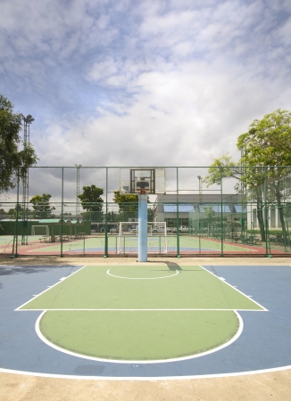 center court: Street basketball court