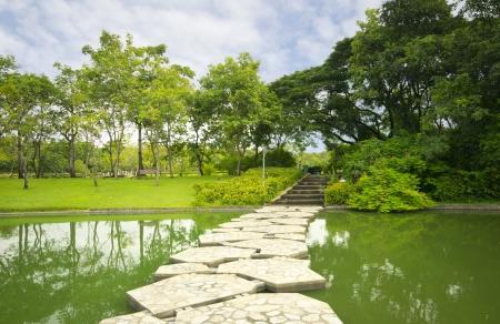 Landscape Garden Design. The Path In The Garden With Pond In