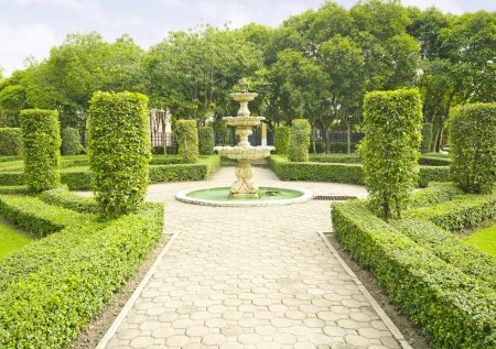 landscaped garden: English garden in summer, Lush Green Topiary