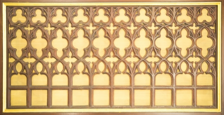 latticework: Old Carved wooden latticework with flowers and squares  Stock Photo