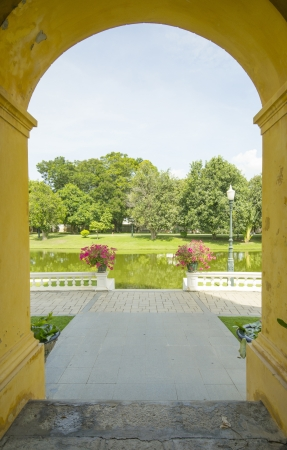 natural arch: arched doorway to the garden Stock Photo
