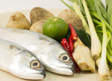 pla: ingredient for cooking tom yum Pla (tuna) spicy soup with tuna, thai food, ingredent set on plate. Stock Photo