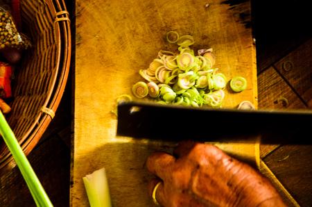 sour grass: Sliced lemon grass  in the kitchen.