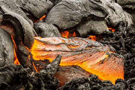Red-hot lava near active volcano Tolbachik, Kamchatka, Russia Reklamní fotografie