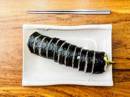 Kimbap (Gimbap) on the table, the most popular Korean food. Seoul, South Korea