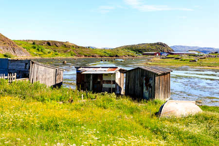 View of village Teriberka in the Barents sea coast. Kola peninsula, Murmansk Oblast, Russia