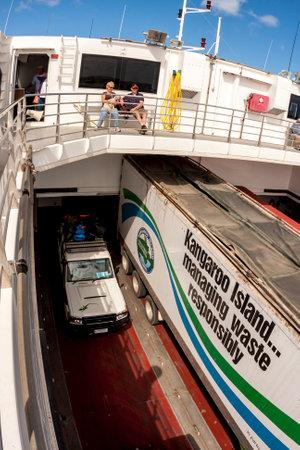 Kangaroo Island, Australia - January 2, 2009: Passengers and cars on the ferry that goes to the Kangaroo Island, Australia