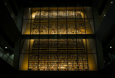 Huge bookshelf with tons of colorful books behind a glass wall. Collection of books in National library of Latvia. Modern architectural masterpiece. Zdjęcie Seryjne - 100495363
