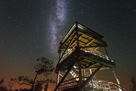 Glowing milky way over the wooden watch tower in the swamp. Light painting the watch tower. Tropical summer nights with million stars above.